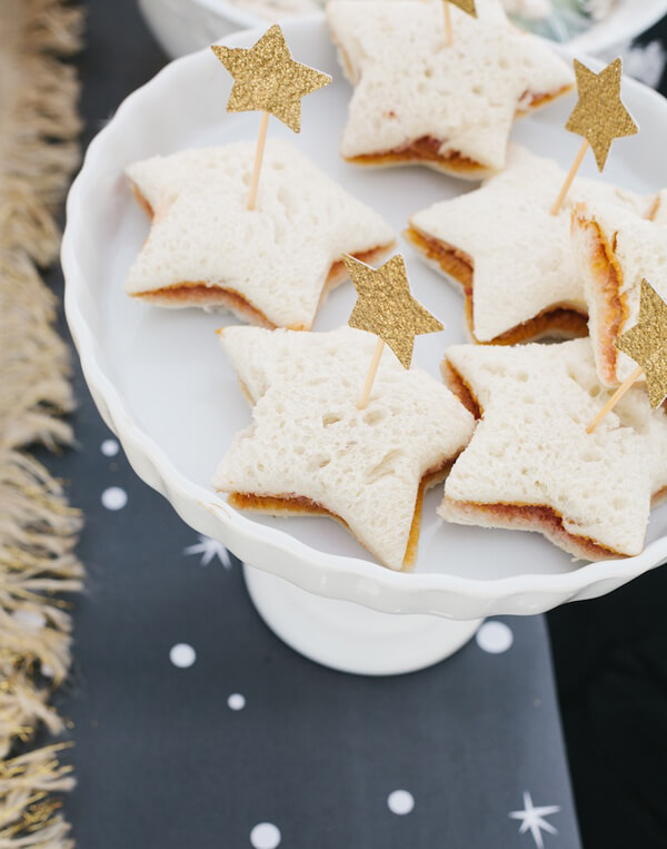 Star shaped sandwiches give a little nutrition during a birthday party. Wonder Woman Party Food   Halfpint Design, party ideas, party themes