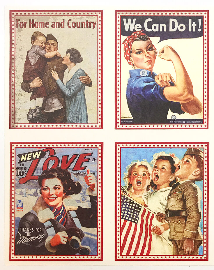 1940's Retro Patriotic Banner DIY | Halfpint Design - A great addition to your patriotic decor for 4th of July, Memorial Day, Patriot's Day, Veteran's Day or when you are just Proud to be an American! Vintage looking pin-up images. Americana decor. Step 2 - Cream cardstock.