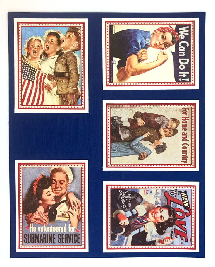 1940's Retro Patriotic Banner DIY | Halfpint Design - A great addition to your patriotic decor for 4th of July, Memorial Day, Patriot's Day, Veteran's Day or when you are just Proud to be an American! Vintage looking pin-up images. Americana decor. Step 3 - Navy cardstock.
