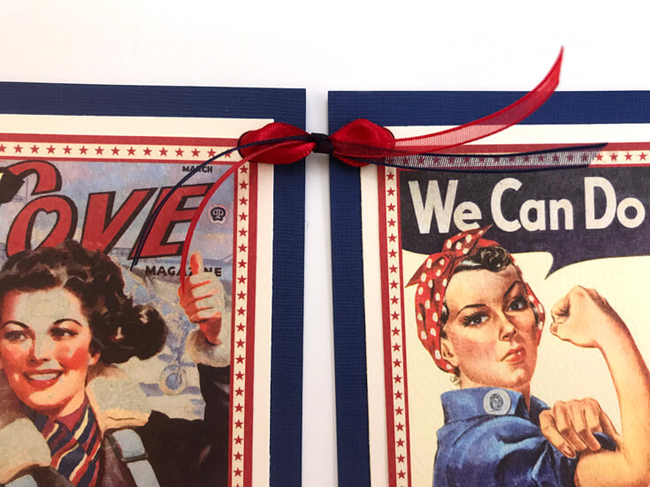 1940's Retro Patriotic Banner DIY | Halfpint Design - A great addition to your patriotic decor for 4th of July, Memorial Day, Patriot's Day, Veteran's Day or when you are just Proud to be an American! Vintage looking pin-up images. Americana decor. Step 6 - blue and red ribbon.