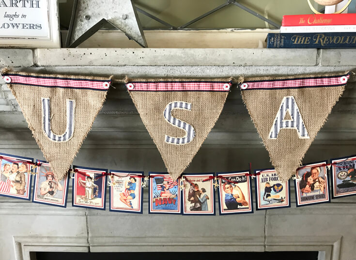 Patriotic Mantel Decor Ideas | Halfpint Design - Loving the more rustic Americana decor for my fourth of July Mantel. USA burlap banner and pin-up garland. Red, white, and blue 4th of July.