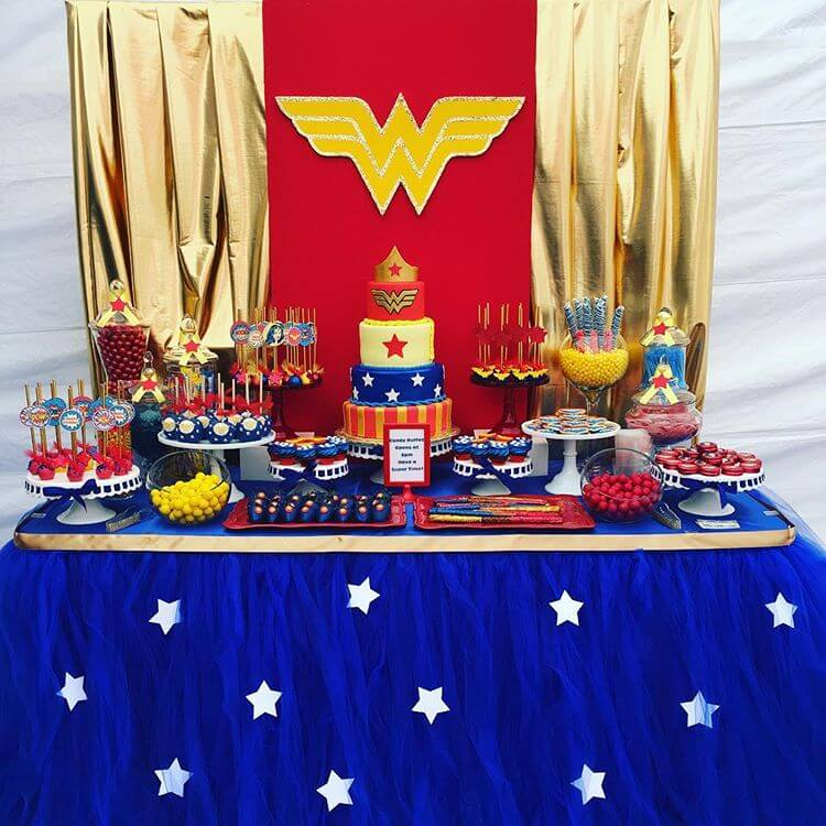 Love this Wonder Woman Backdrop. Make it even MORE classy with a few modifications. Classy Wonder Woman Birthday Party Decor | Halfpint Design