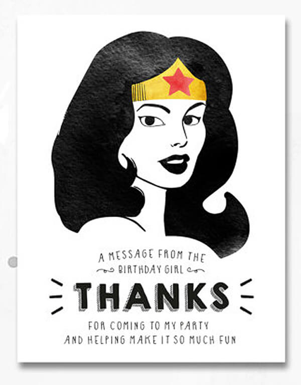 A great Wonder Woman thank you with matching invite. Love the clean and simple graphics. Classy Wonder Woman Birthday Party Decor | Halfpint Design