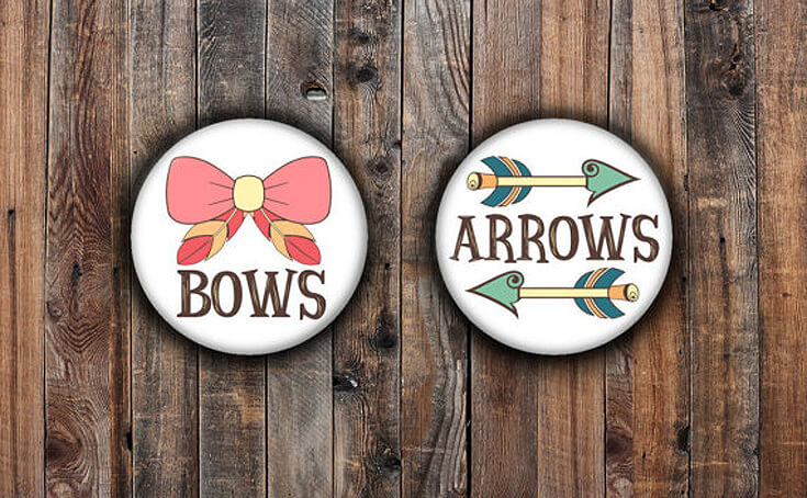 Bows or Arrows: Gender Reveal Party Ideas | Halfpint Design - Bows or Arrows pins. Choose your vote and wear it with pride! These cute buttons will show everyone what your guests think you will be having.