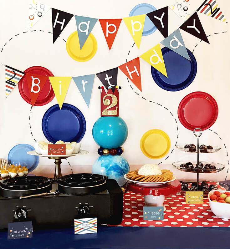Have a Ball Party Reveal | Halfpint Design - Let's have a ball party buffet table and ball backdrop, 2nd birthday. halfpintpartydesign.com