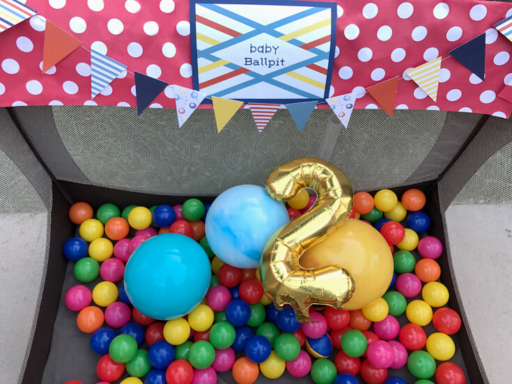 Baby ball pit in pack n play. A great outdoor party game for little ones.