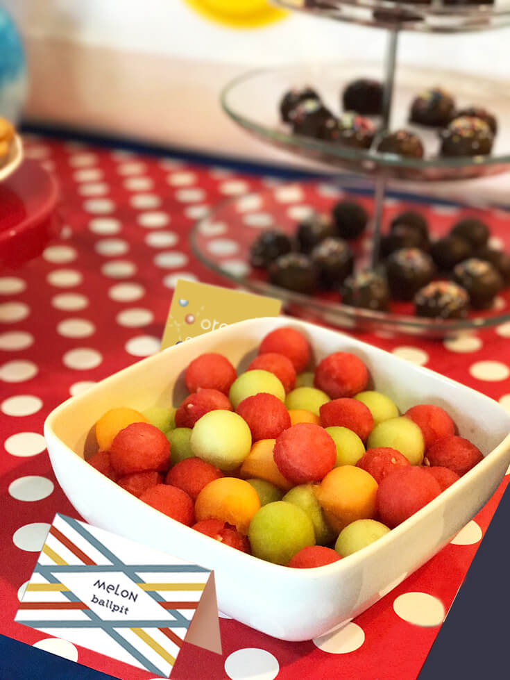 Ball Party Event Menu | Halfpint Design - Watermelon is my little guy's favorite food these days so melon balls were required. After mixing up three types of melons, it sure looked a lot like a ball pit. Right? {Check out the real ball pit in the reveal} Ball party food ideas.
