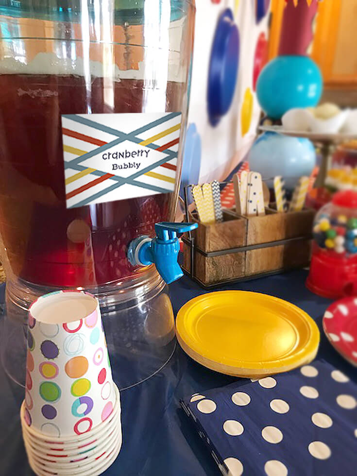 Ball Party Event Menu | Halfpint Design - The plates, cups, and napkins were simple polka dots. The wooden flatware a mix of dots, chevron, and stripes. That's a lot of dots but made for a really fun atmosphere!! The drink a mix of cranberry juice and sparkling water. Bubbles are round right? I feel like that counts! Ball party food ideas.