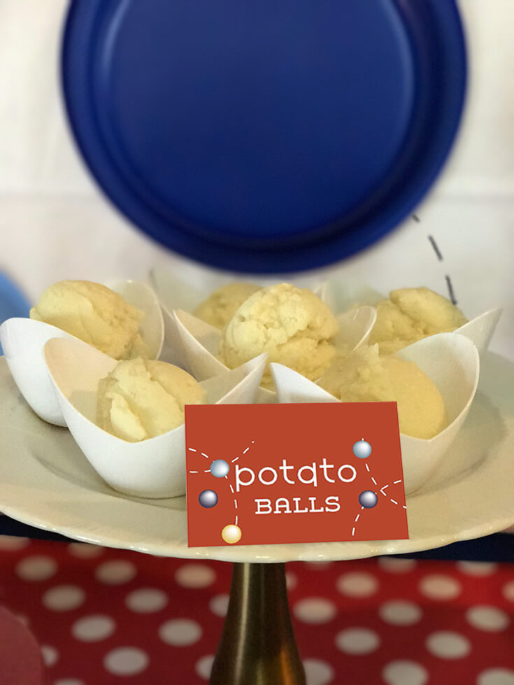 Ball Party Event Menu | Halfpint Design - So maybe potato balls aren't really a thing, at least not like this, but serving mashed potatoes in an ice cream scoop makes them way more fun to eat! Ball party food ideas.