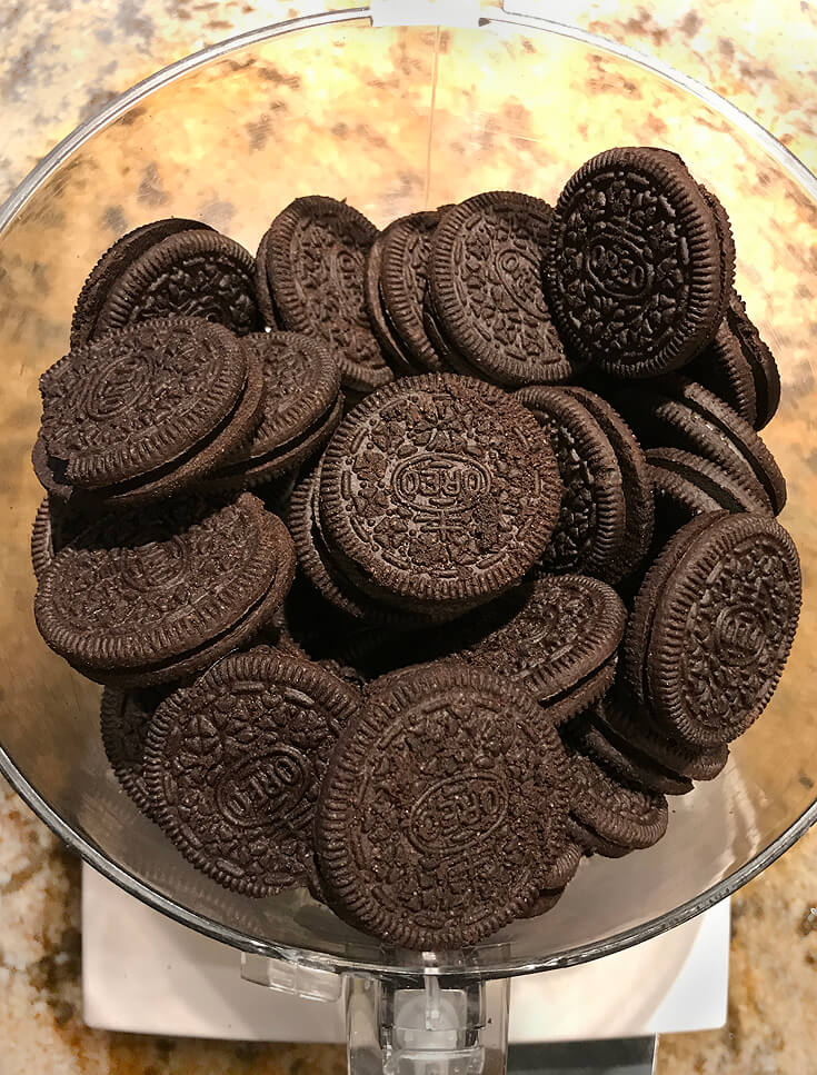 Easy Oreo Cake Ball Recipe | Halfpint Design - Step 1: Use a food processor to crumble the Oreo cookies.