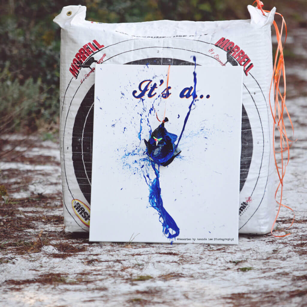 Bows or Arrows: Gender Reveal Party Ideas | Halfpint Design - Into archery? What better way to announce your baby's gender than to shoot an arrow into a balloon filled with paint!? Love this image from Memories by Amanda Lee Photography!