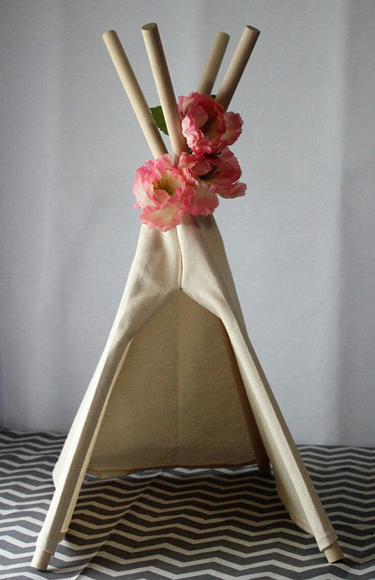 "Bows or Arrows: Gender Reveal Party Ideas | Halfpint Design - I LOVE this mini teepee centerpiece. Comes in sizes ranging from 12"" to 24"" high. Would be beautiful on the food, buffet, or gift tables for a bows or arrows gender reveal, Boho baby shower or Wild One birthday party."