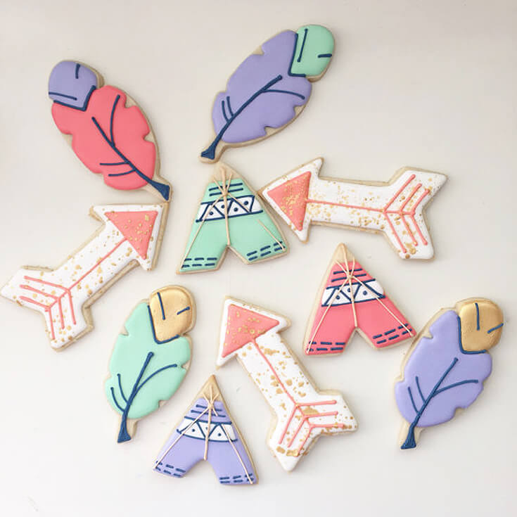 Bows or Arrows: Gender Reveal Party Ideas | Halfpint Design - How cute are these teepee, feather, and arrow cookies for a bows or arrows gender reveal, Boho baby shower or Wild One birthday party.