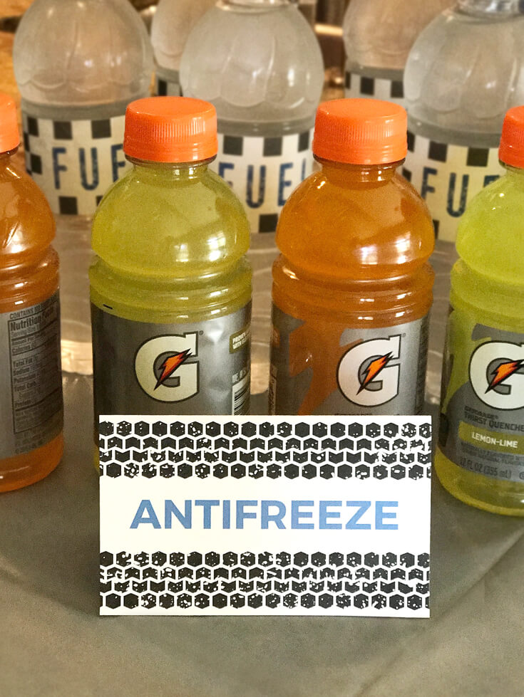 """Gatorade as """"Anti-freeze"""" and Water as """"Fuel"""" as two of the beverage options. Monster Truck Party Menu 