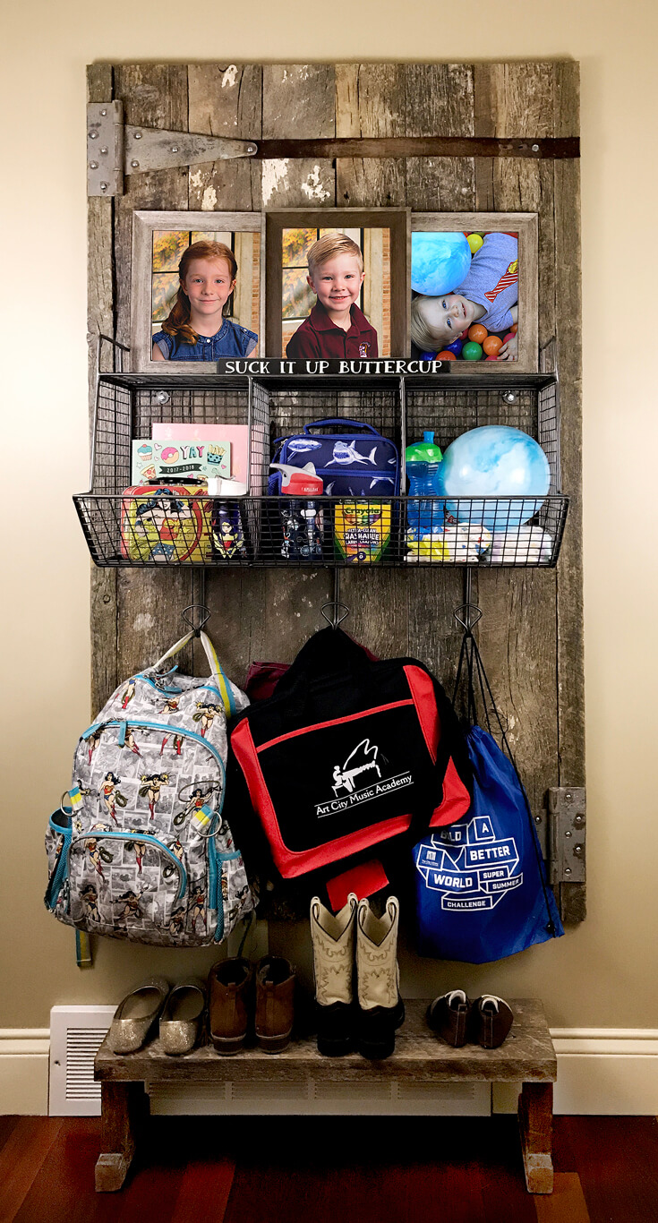 "All loaded up it's not quite as pretty...but isn't that real life? Sometimes we gotta ""suck it up buttercup!"" - Farmhouse Back to School Organization 