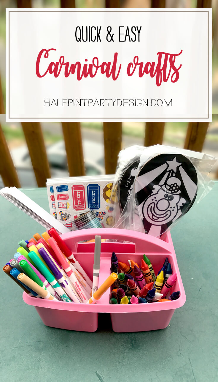 Need great ideas for your PTA fundraiser? Have a back to school carnival or just a carnival themed classroom? Check out this list of great and easy carnival and circus crafts. Some DIY, some D-I-BUY. Both very simple and fun. Carnival Crafts for Busy Bodies | Halfpint Design, circus craft, circus party, carnival party, kids crafts, kids activities.
