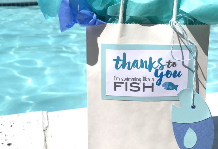 Swim teachers have a tough job. End the summer right by giving them a sweet thank you gift adorned with a cute label and tag - Classic Swim Teacher Appreciation Gift | Halfpint Design. Teacher gifts, swimming lessons, fishy thank you.