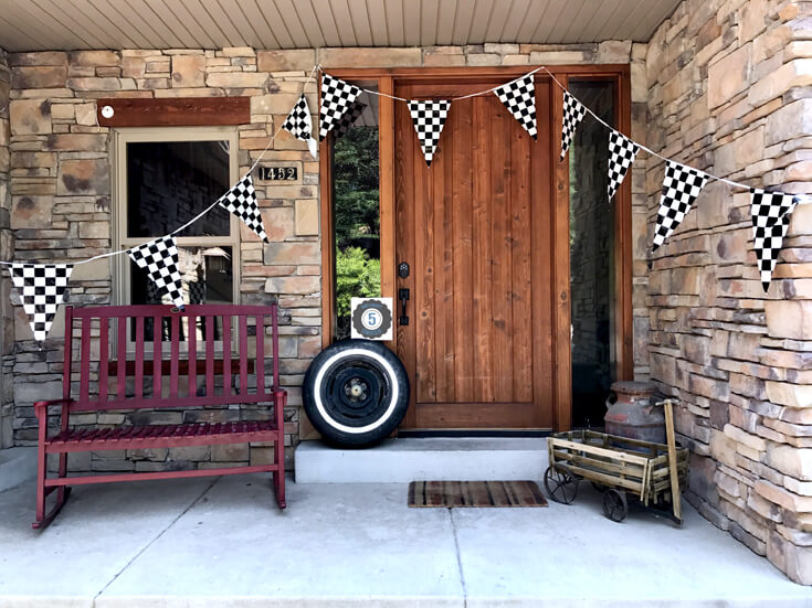 Simple but effective way to greet guests for your Monster Truck Birthday Party Smash! Halfpint Design with Party Printables from HalfpintPartyDesign on Etsy. Boy party theme. 5th birthday. Porch decor.