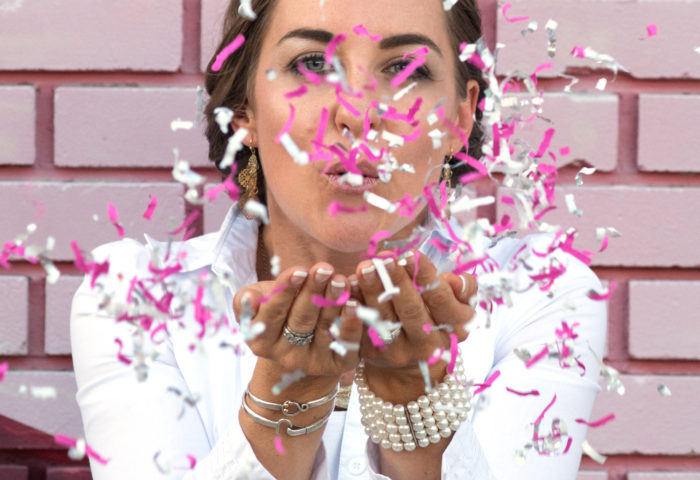 Confetti blow to celebrate the launch of Parties With A Cause - a new way to party and do good
