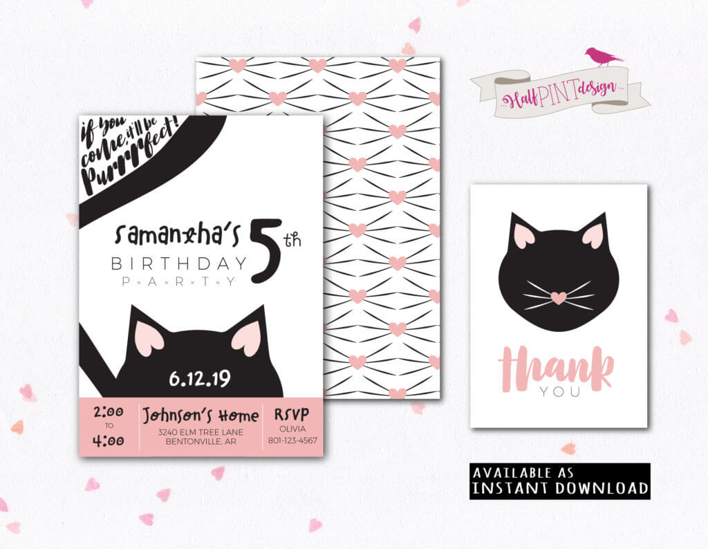 Halfpint Design celebrates a half birthday with the launching of a new Halfpint Party Design Etsy Shop! Check out our Kitty Cat Birthday Party Printable Invitations and Thank you.