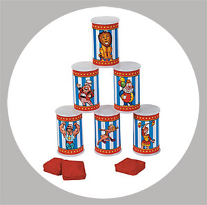 Knock the Cans is a classic carnival game perfect for a PTA fundraiser, back to school carnival, or birthday party. You could DIY this with duct and washi tape or save a step (or three) and it ready-made. - Painless Carnival Party Amusements | Halfpint Design