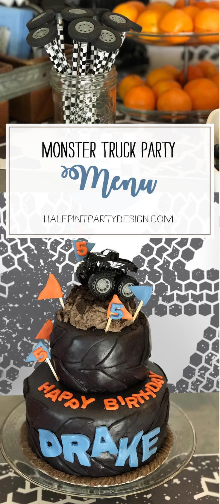 Designing the menu to fit the theme is half the fun! Creating fun names and labels makes simple food more interesting for the guests. Monster Truck Party Menu | Halfpint Design - party food, event menu
