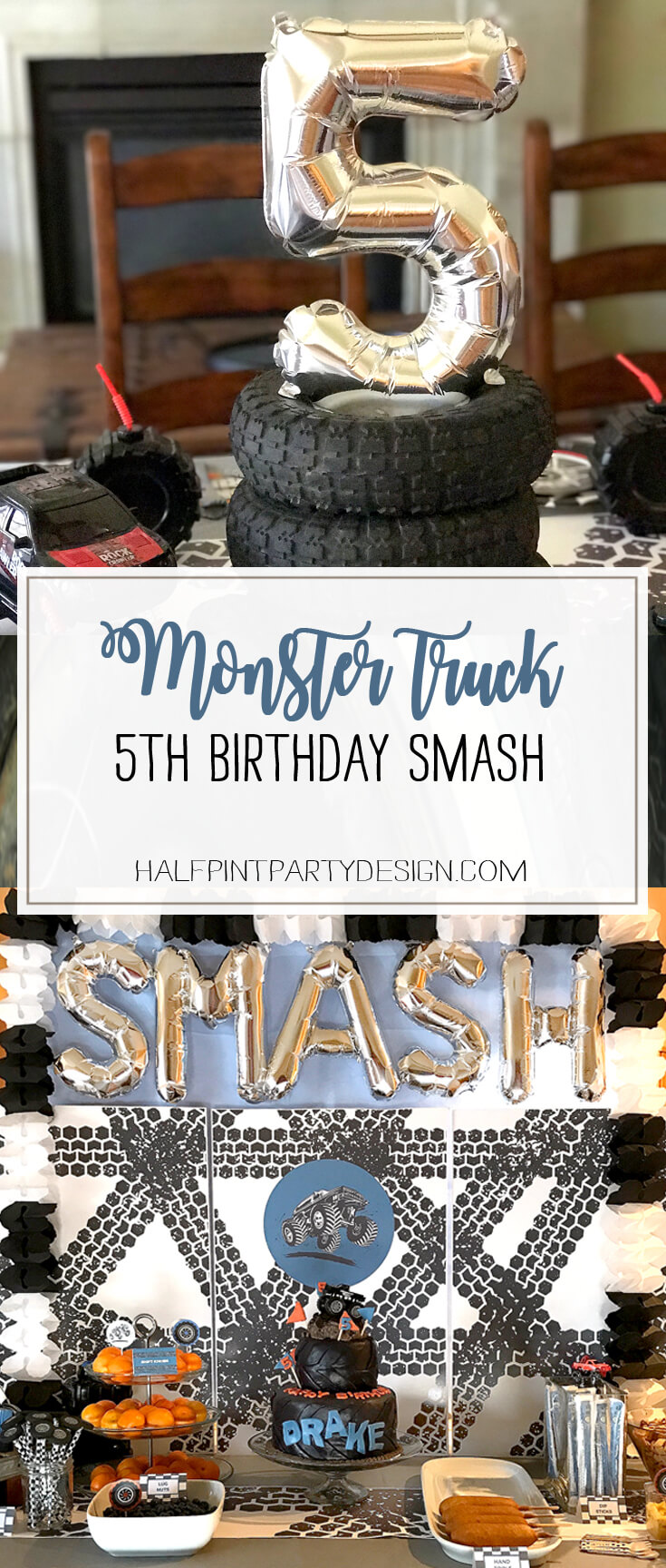 Monster Truck Birthday Party Smash! Halfpint Design with Party Printables from HalfpintPartyDesign on Etsy. Boy party theme. 5th birthday.