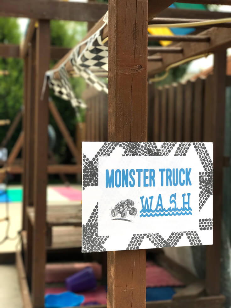 "Summer parties are hot, the ""Monster truck wash"" gave our party goers a chance to cool off between races. Monster truck party activity ideas 
