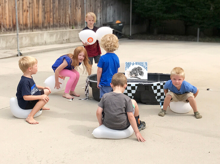 "I think this ""Pop a wheelie"" might have been the favorite! It definitely was the first activity all the guests did. Monster truck activity ideas-halfpintpartydesign.com-boy party theme"