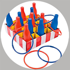 The ring toss is a classic carnival game perfect for a PTA fundraiser, back to school carnival, or birthday party - Painless Carnival Party Amusements | Halfpint Design