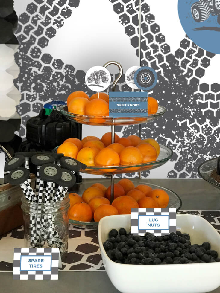 Bringing fruit and veggies into the menu is a must for me. We added mandarin oranges and blueberries for increased nutrition that also supported the complementary blue and orange color scheme! Monster Truck Party Menu | Halfpint Design - party food, event menu