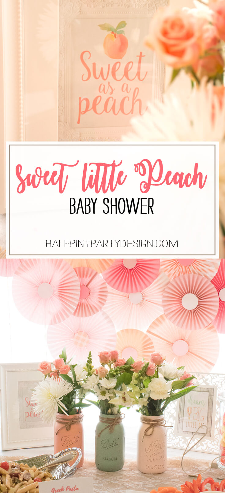 A Sweet Little Peach Baby Shower is perfect for Mommy-to-be and baby Georgia! Come see the rest of the details to this sweet shower. - Sweet Little Peach Baby Shower | Halfpint Design