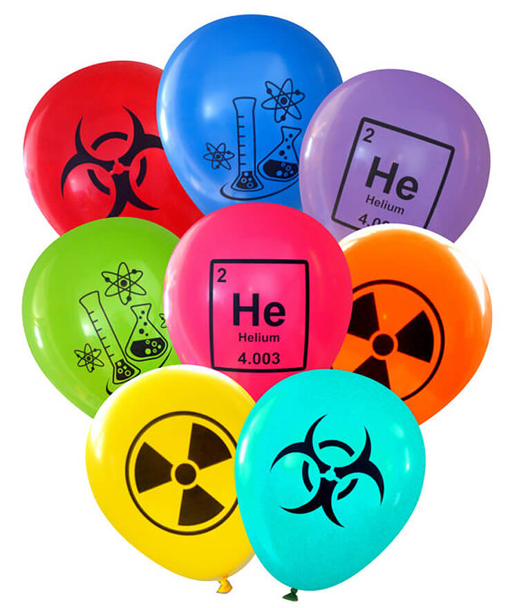 Biohazard Balloons in a great color scheme for an amazing mad science party. Mad Science Party Ideas | HalfpintPartyDesign - Science Party, Science Food, STEM party, Mad Science
