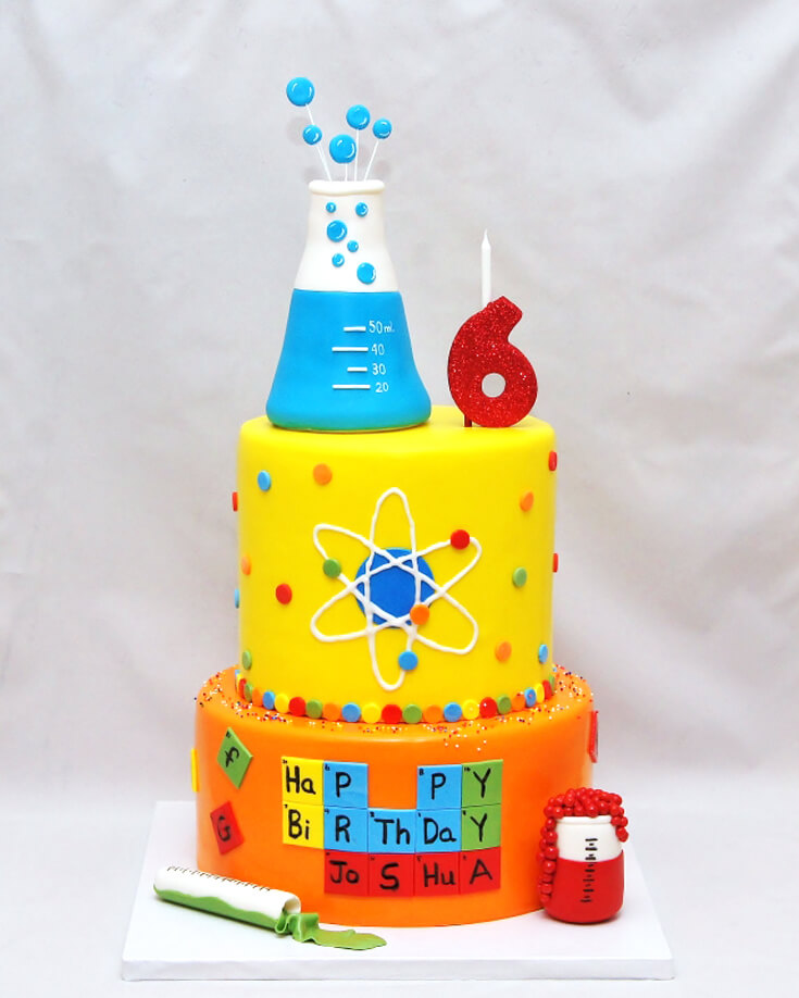 Chemistry cake from Cake in a Cuppy NY. How cute are all the layers with all the science!? Love it. Mad Science Party Ideas | HalfpintPartyDesign - Science Party, Science Food, STEM party, Mad Science