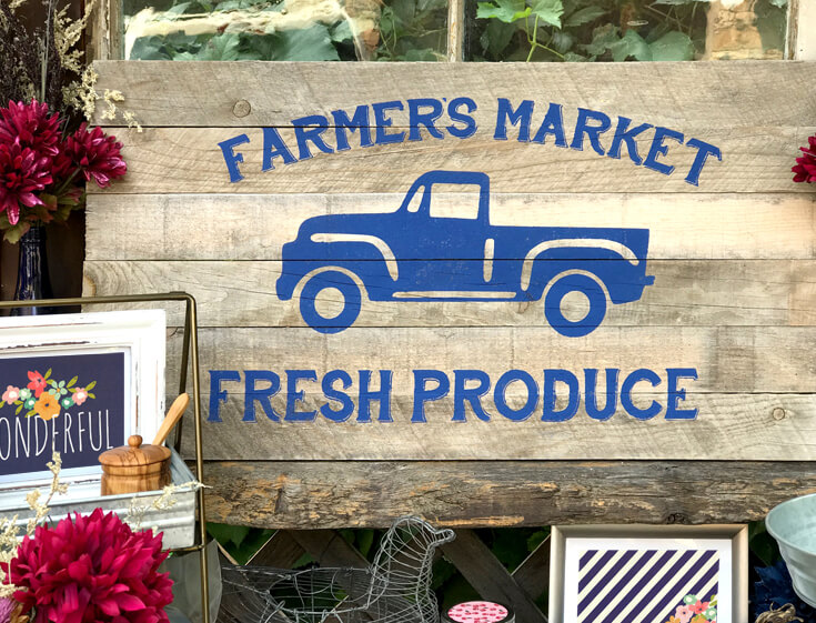 """I love this wooden slat """"Farmer's Market Fresh Produce"""" sign I created for this party. The stencil cut file is available! Farmer's Market Harvest Brunch 