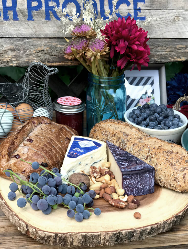 Cheese and bread tray with nuts and grapes. Farmer's Market Harvest Brunch | Halfpint Design - Fall entertaining, garden food, clean eating