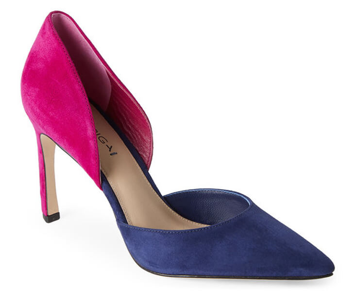 How great are these color blocked party heels? Trend spotting alert! We've got cobalt and raspberry coming on strong. Party Palette: Royal Blue and Raspberry | Halfpint Design - party color, color trends, party palette, wheels or heels gender reveal