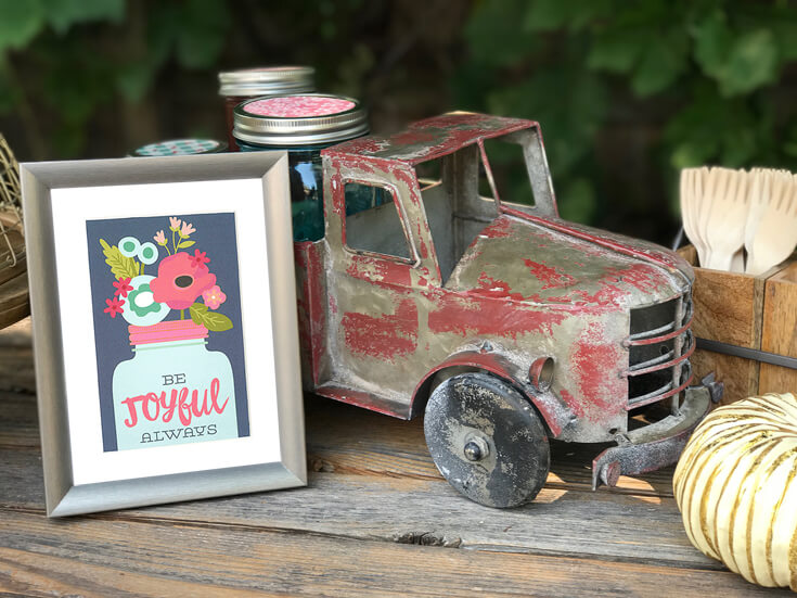 I found my rustic truck and filled it up with glass jars and a lovely quote about being joyful. Farmer's Market Harvest Brunch | Halfpint Design - Fall entertaining, garden food, clean eating