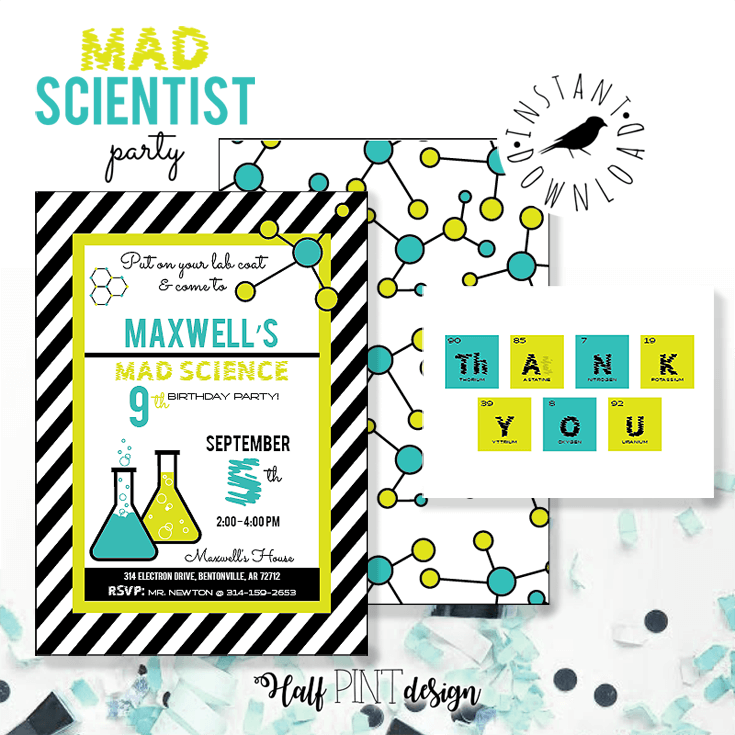 It starts with the invitation. These mad science invitations are perfect for a birthday party. Mad Science Party Ideas | HalfpintPartyDesign - Science Party, Science Food, STEM party, Mad Science