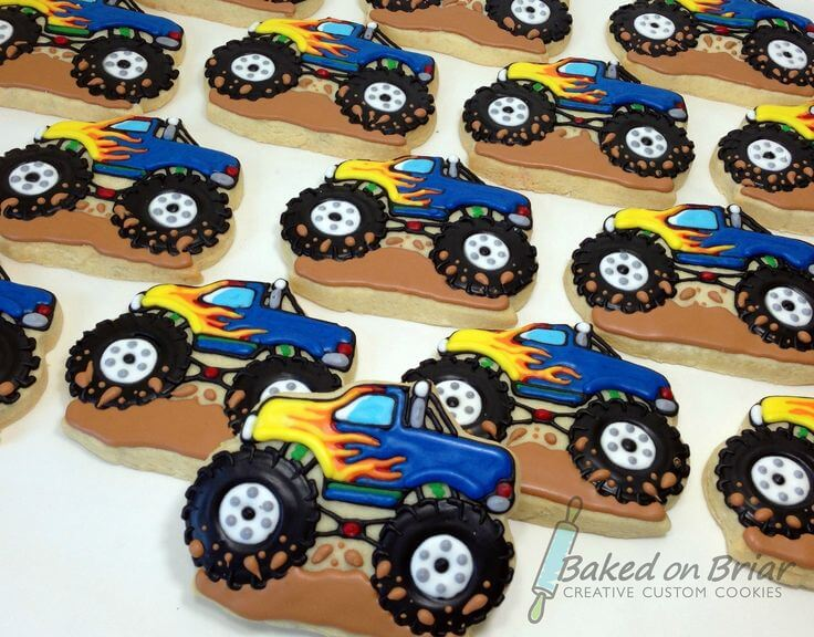 These Monster truck cookies are a fabulous addition to the wheels or heels food table! Wheels or Heels Gender Reveal Party Ideas | Halfpint Design - race car, motorcycle, monster trucks and heels