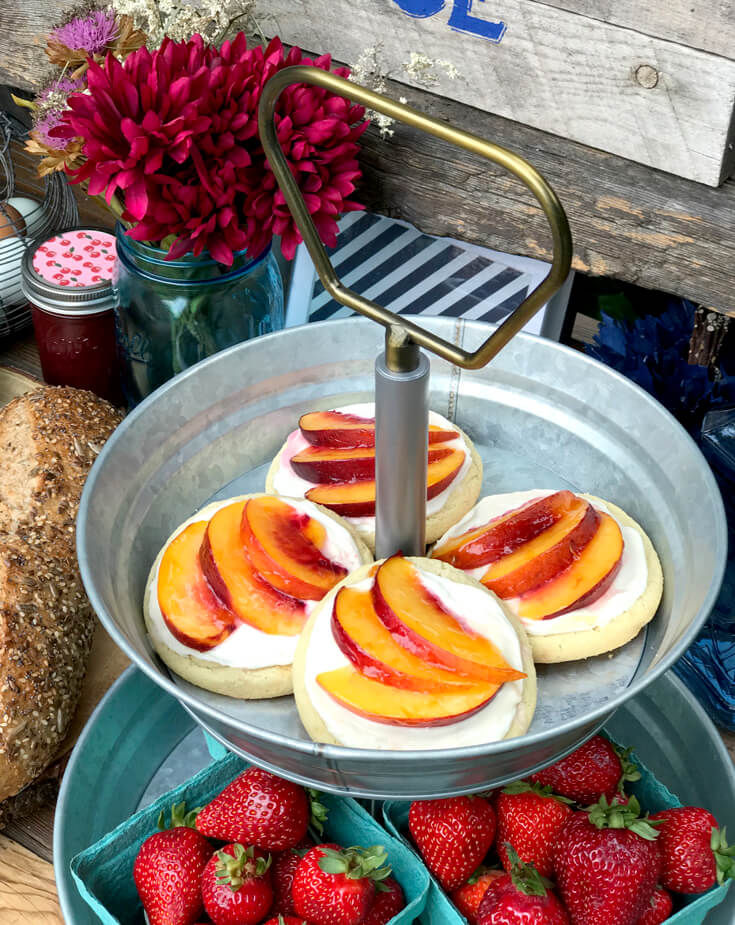 Peach Tart sugar cookie for a marvelous breakfast dessert! Farmer's Market Harvest Brunch | Halfpint Design - Fall entertaining, garden food, clean eating