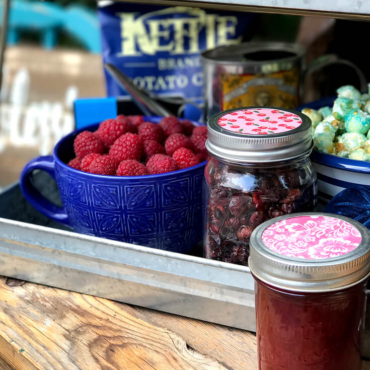 Raspberries, dried cherries, and plum jam. Farmer's Market Harvest Brunch | Halfpint Design - Fall entertaining, garden food, clean eating