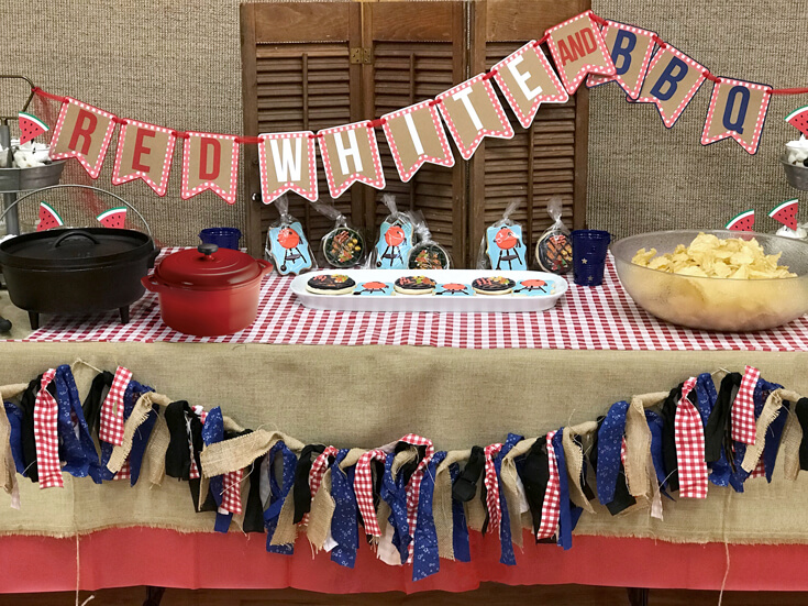 Love the Red, White, and BBQ banner as well as the tassel garlands. Custom BBQ cookies also available. They were amazing!! Red white and BBQ party | Halfpint Design - summer party, Memorial weekend bbq, 4th of July, Labor Day party, BBQ party, Oktoberfest, neighborhood grill, brat party