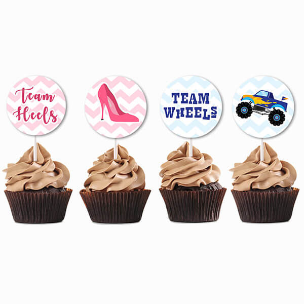 "More of a cupcake person? Here are some cute ""Team Heels"" and ""Team Wheels"" cupcake toppers. Wheels or Heels Gender Reveal Party Ideas 