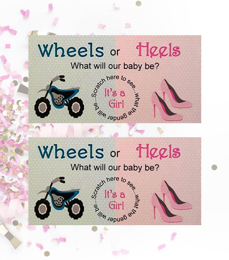 Scratch cards are a fun way to get your whole guest list involved in the reveal. Scratch it off all at once to reveal what baby will be! Motorcycle wheels or Heels gender reveal scratch card. Wheels or Heels Gender Reveal Party Ideas | Halfpint Design - race car, motorcycle, monster trucks and heels