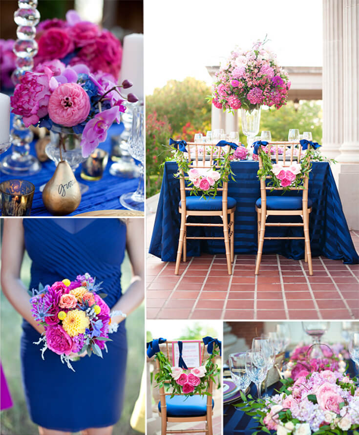 Royal blue hit the wedding scene in 2014 and is back again with a new partner. Trend spotting alert! Party Palette: Royal Blue and Raspberry | Halfpint Design - party color, color trends, party palette