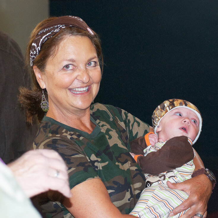Even the babies sported some camo. The birthday girl loved it. Hunting Themed Birthday Party | Halfpint Design - Duck Dynasty, duck hunt party, hunting party, birthday party theme