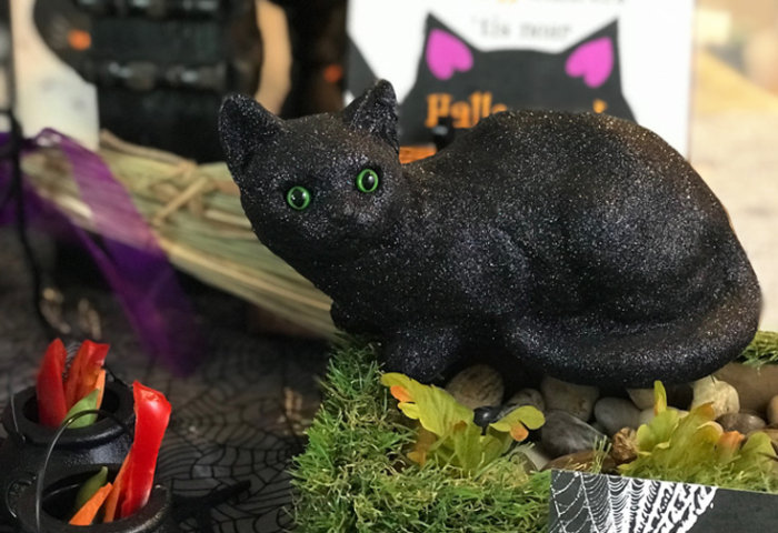 "You've got to have a black cat or two for a black cat party. This kitty with it's piercing green eyes is a perfect party accessory. ""Black Cat Halloween Party Reveal"" on Halfpint Design - Halloween party ideas, kitty cat party, kids party, cat party treats"