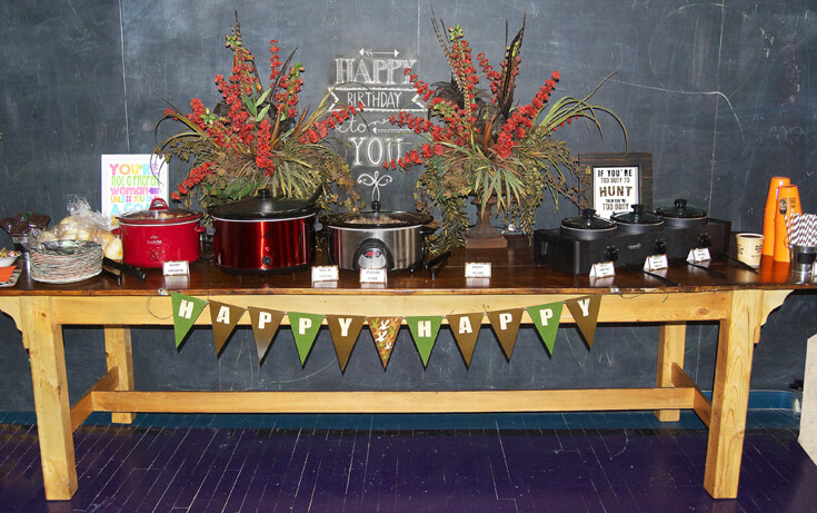 """Woodland florals, chalkboard art, and lots of great food make for a party that's """"happy happy!"""" Hunting Themed Birthday Party 