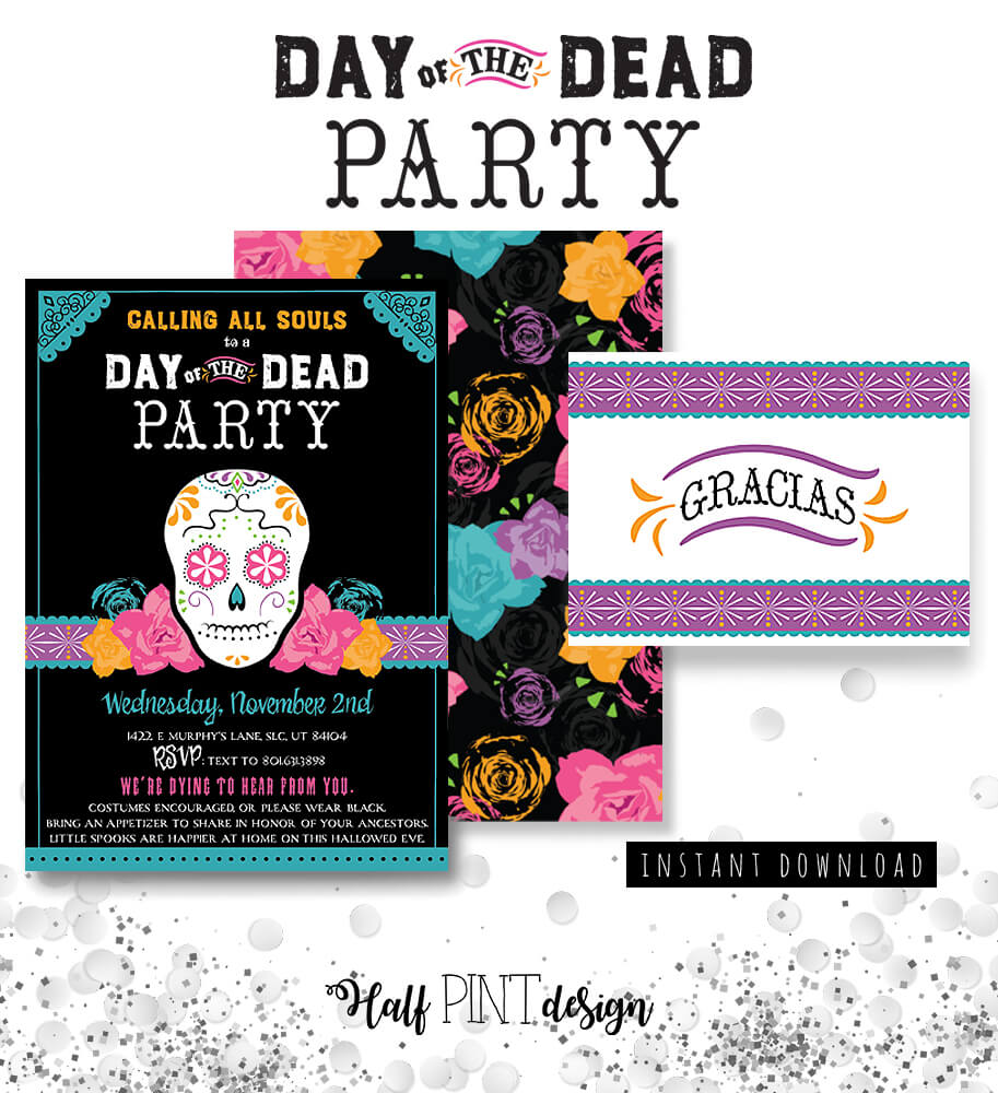 These are the perfect Day of the Dead party invitations on Etsy! They come with a pattern for the back and a thank you card. Dia de los Muertos Party Resources | Halfpint Design - Halloween party, party decorations, party clothes